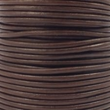 2mm Round Leather Cord - Brown - 5pk