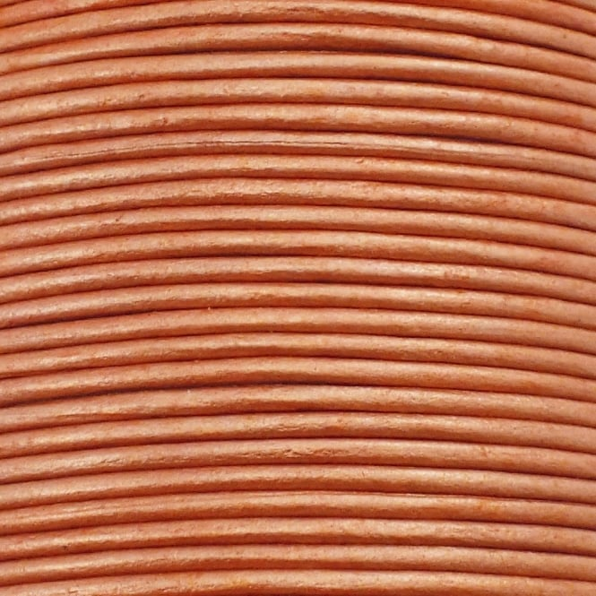 2mm Round Leather Cord - Metallic Peach - 5m