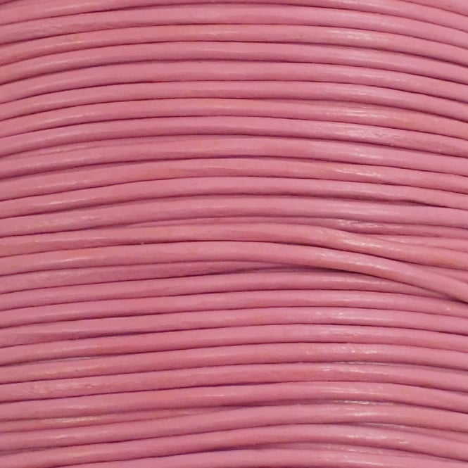 2mm Round Leather Cord - Powder Pink - 5m