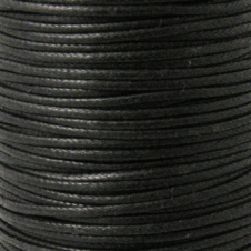 2mm Waxed Cotton Cord - Black - 100m Roll