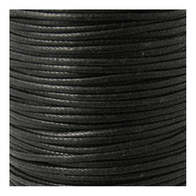 2mm Waxed Cotton Cord - Black - 50m