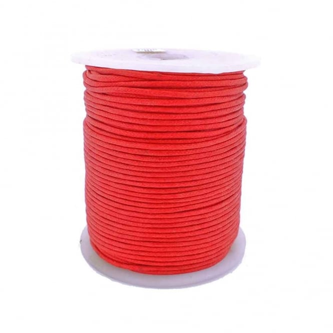 2mm Waxed Cotton Cord - Red - 5m