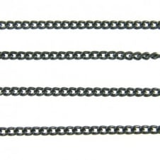 2x2.5mm Fine Steel Curb Chain - Black Plated - 1m