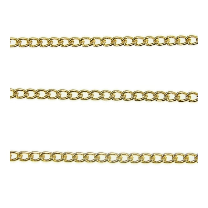 2x2.5mm Fine Steel Curb Chain - Gold Plated - 1m