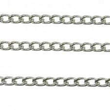 2x2.5mm Fine Steel Curb Chain - Silver Plated - 1m