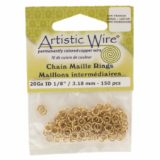 "3.18mm (1/8"") Artistic Wire Chain Maille Rings - 20 Gauge - Non Tarnish Brass"