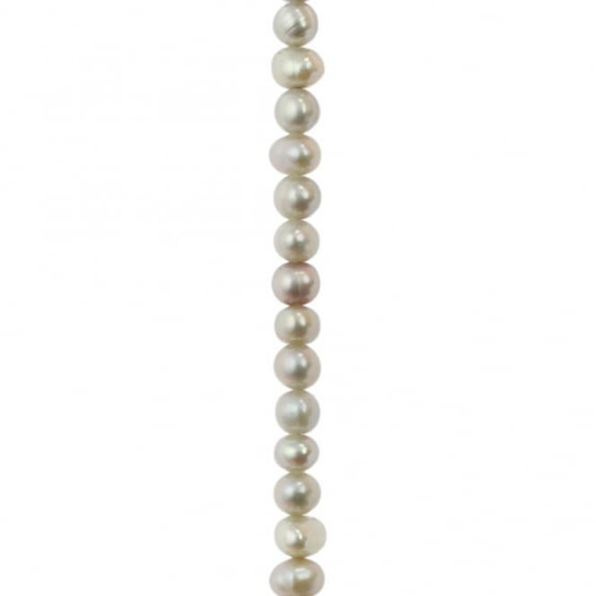 "3-4mm Potato/Round Freshwater Pearls - Silver - 16"" String"