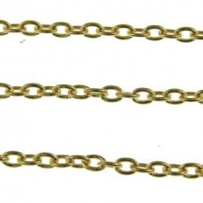 3.5x5.5mm Small Steel Trace Chain - Gold Plated - 1m