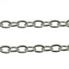 3.5x5.5mm Small Steel Trace Chain - Silver Plated - 1m