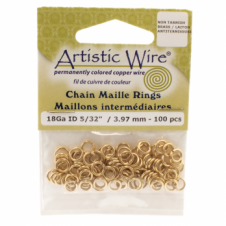 "3.97mm (5/32"") Artistic Wire Chain Maille Rings - 18 Gauge - Non Tarnish Brass"