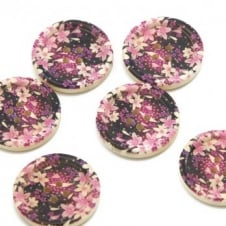 30mm Wooden Lillies Dished Edge Button - 2pk