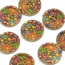 30mm Wooden Psychedelic Floral Dished Edge Button - 2pk