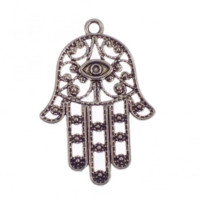 33x23mm Hamsa Protection Hand Charm - Antique Silver Plated - 5pk