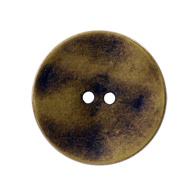 34mm 2 Hole Metal Disc Buttons - Brass - 1pk