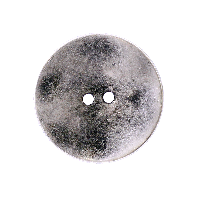 34mm 2 Hole Metal Disc Buttons - Silver - 1pk