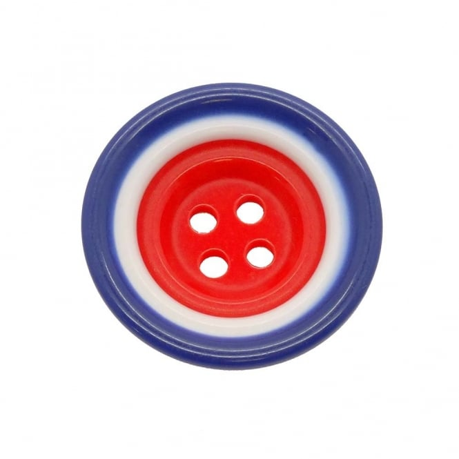 34mm Plastic Red, White & Blue Round Button - 2pk