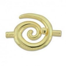 34x35mm Large Swirl Glue In Toggle - 3.2mm - Gold Plated - 1pk