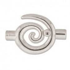 34x35mm Large Swirl Glue In Toggle - 6.2mm - Silver Plated - 1pk
