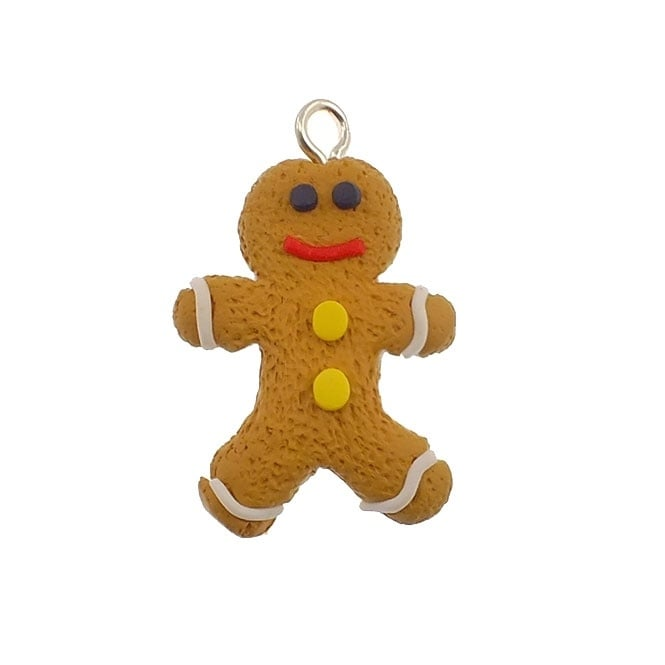 35x23mm Christmas Gingerbread Fimo Charm - Gingerbread Man - 1pk