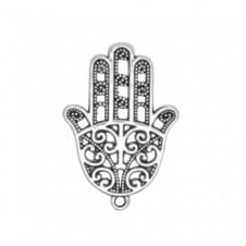 35x24mm Hamsa Protection Hand Charms - Antique Silver Plated - 5pk
