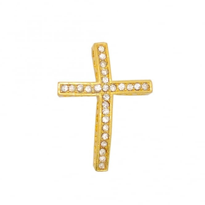 35x25mm Rhinestone Cross - Gold Plated - 1pk