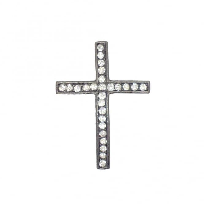 35x25mm Rhinestone Cross - Gunmetal Plated - 1pk