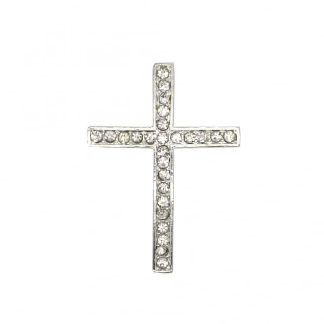 35x25mm Rhinestone Cross - Silver Plated - 1pk