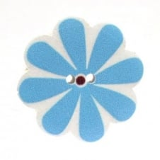 37mm Wooden Flower Sunflower Shape Button - Sky Blue - 2pk