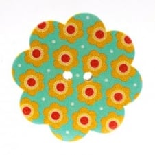 37mm Wooden Garden Giant Sunflower Shape Button - Orange - 2 pk