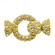 37x22mm Large Round Magnetic Multi Strand Clasp with Diamante Crystals - Gold Plated