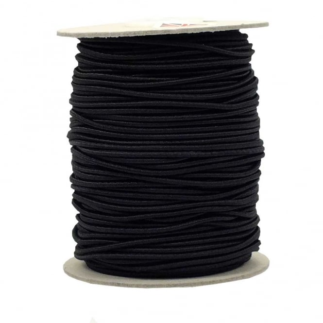 3mm Extra Stretchy Round Elastic Cord - Black - 5 metres