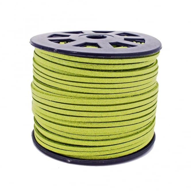 3mm Flat Faux Suede Cord - Apple Green Glitter - 5m