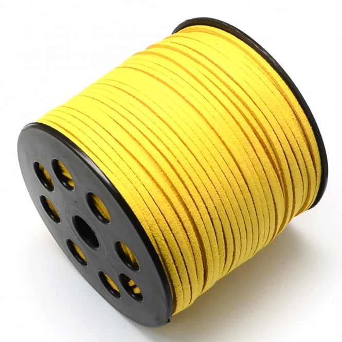 3mm Flat Faux Suede Cord - Golden Yellow - 5m