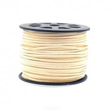 3mm Flat Faux Suede Cord - Ivory - 5m