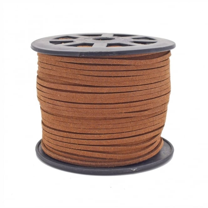 3mm Flat Faux Suede Cord - Light Brown - 5m