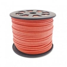 3mm Flat Faux Suede Cord - Pink Salmon - 5m