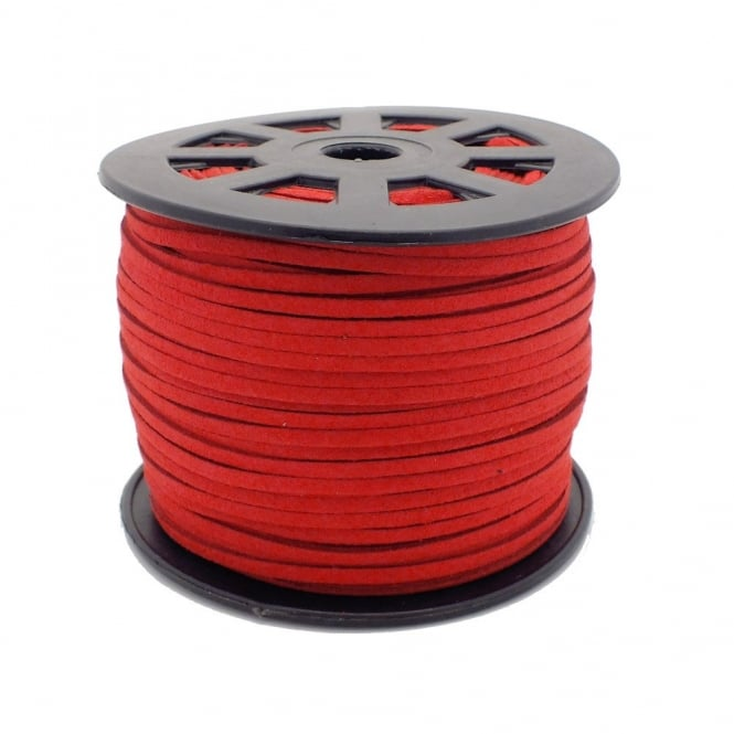 3mm Flat Faux Suede Cord - Red - 5m