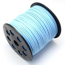 3mm Flat Faux Suede Cord - Sky Blue - 5m