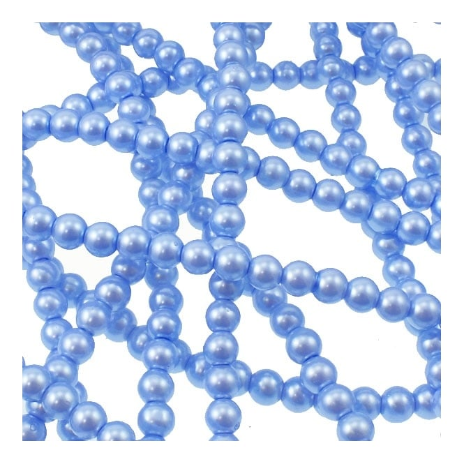 3mm Round Glass Pearl Beads - Baby Blue - 2 Strings (210 Beads)