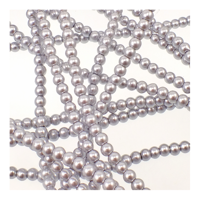 3mm Round Glass Pearl Beads - Light Grey - 2 Strings (210 Beads)