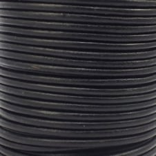 3mm Round Leather Cord - Black - 5m