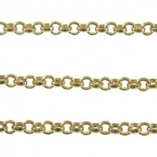 3x3mm Steel Baby Belcher Chain - Gold Plated - 1m
