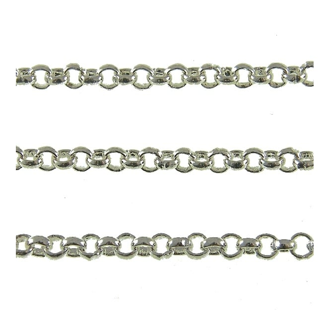 3x3mm Steel Baby Belcher Chain - Silver Plated - 1m
