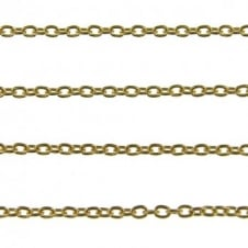 3x4mm Fine Steel Trace Chain - Gold Plated - 1m