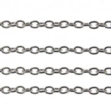 3x4mm Fine Steel Trace Chain - Silver Plated - 1m