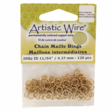 "4.37mm (11/64"") Artistic Wire Chain Maille Rings - 20 Gauge - Non Tarnish Brass"