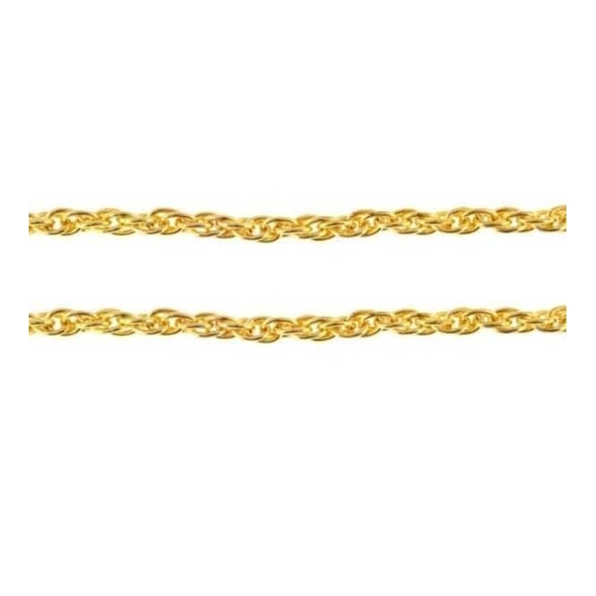 4.5x6.5mm Rope Chain - Gold Plated - 1m
