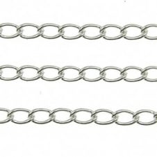 4.5x7mm Elongated Steel Curb Chain - Silver Plated - 1m