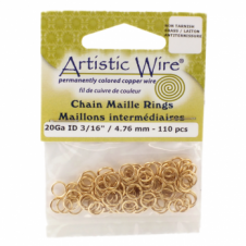 "4.76mm (3/16"") Artistic Wire Chain Maille Rings - 20 Gauge - Non Tarnish Brass"