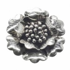 40mm Flower Blossom Pendant - Antique Silver Plated - 2pk